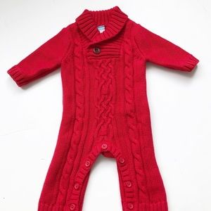 Old Navy red cable knit onesie. Gender neutral